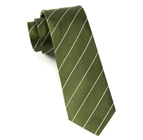 Pencil Pinstripe Army Green Ties