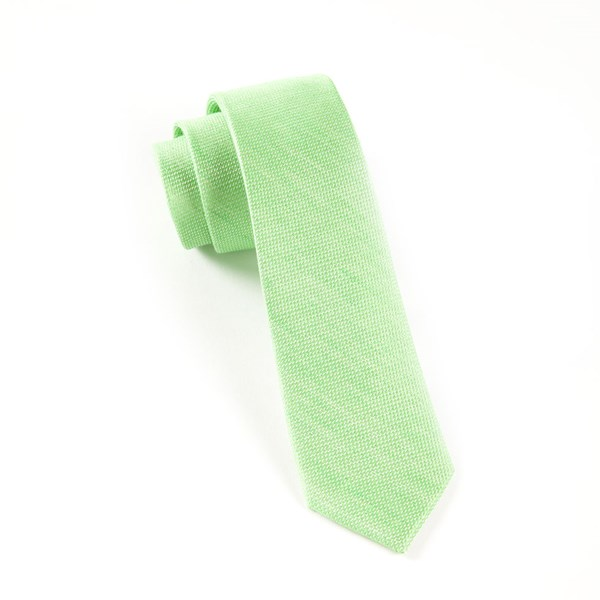 Apple Green Solid Linen Tie
