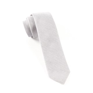 Flannel Herringbone Light Grey Tie