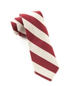 Ties - College Stripe Wool - Deep Burgundy