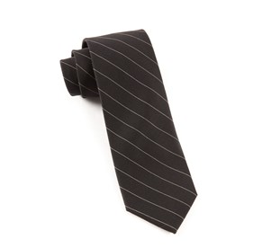 Black Black/White Wool Stripe ties