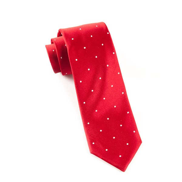 Red Satin Dot Tie