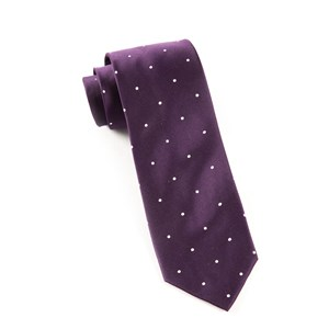 satin dot eggplant ties
