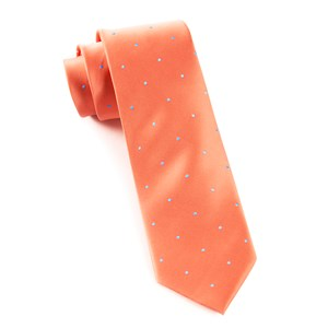 satin dot coral ties