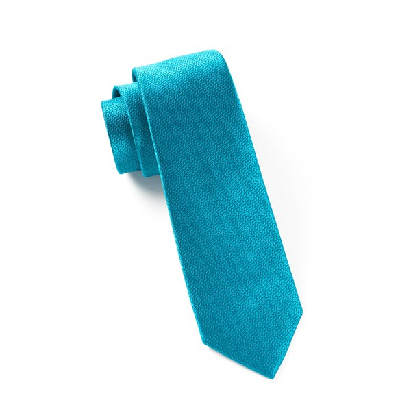 Teal Static Solid Tie