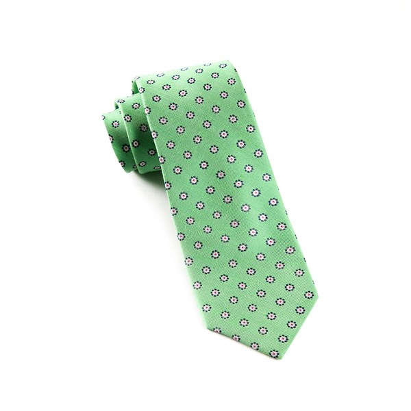 Apple Green Half Moon Floral Tie