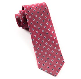 Red Half Moon Floral boys ties