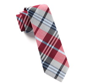 Red Crystal Wave Plaid ties