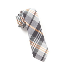 Grey Crystal Wave Plaid ties
