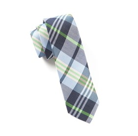 Navy Crystal Wave Plaid ties