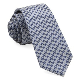 Soft Blue White Wash Houndstooth ties