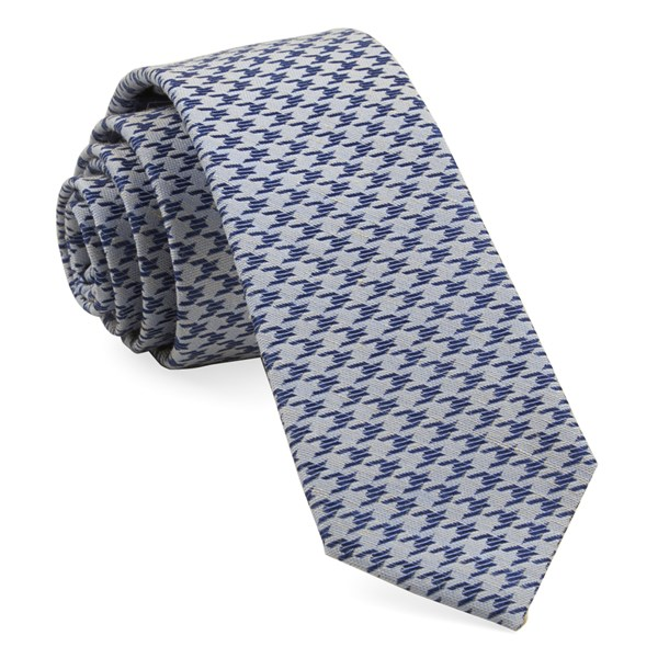 Soft Blue White Wash Houndstooth Tie