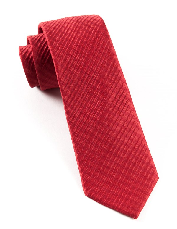 Silk Seersucker Solid Red Tie