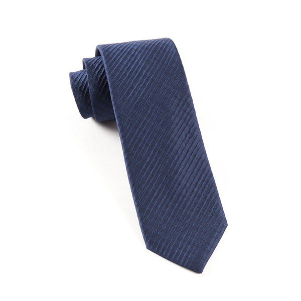 Navy Silk Seersucker Solid Tie