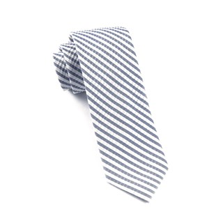 Silk Seersucker Stripe Midnight Navy Tie