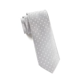 Silver Covert Checks ties