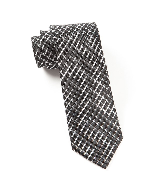 Textured Checks Black Tie