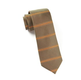 Dark Olive Ripon Horizontal Stripe ties