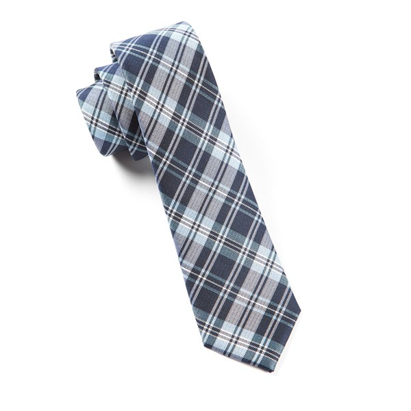 Navy Narrative Plaid Tie
