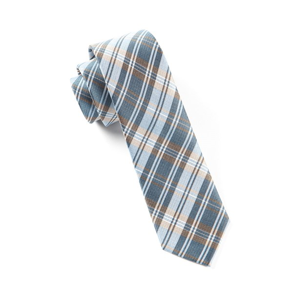 Light Blue Narrative Plaid Tie