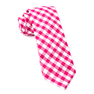 classic gingham hot pink ties