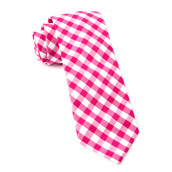 Hot Pink Classic Gingham Tie