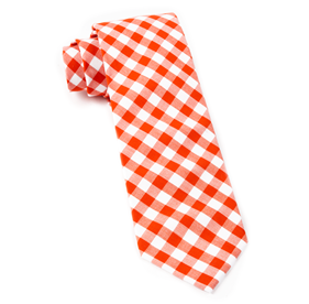 Orange Classic Gingham ties