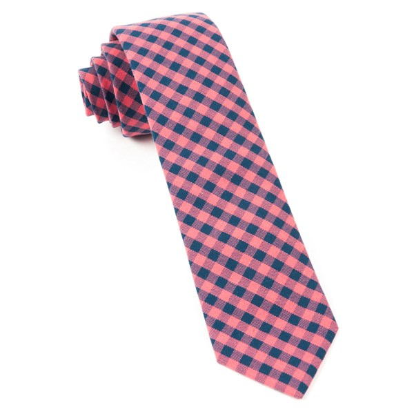 Salmon Pink Gingham Shade Tie