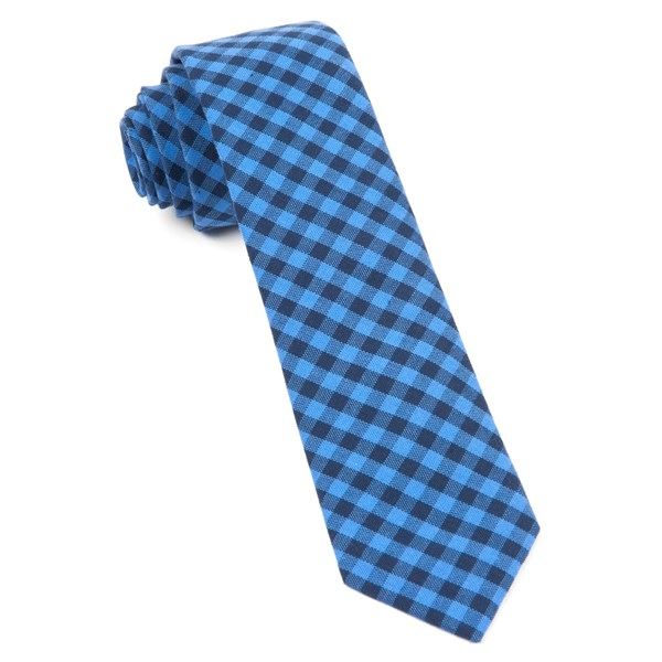Light Blue Gingham Shade Tie