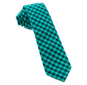 Caribbean Teal Gingham Shade ties