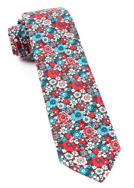 red floral level tie