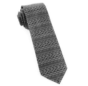Black Texcoco Horizontal Stripe ties