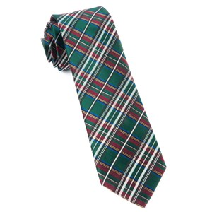 white christmas plaid hunter green ties