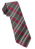 Ties - White Christmas Plaid - Burgundy