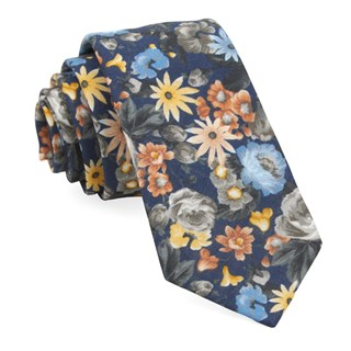 duke floral navy ties