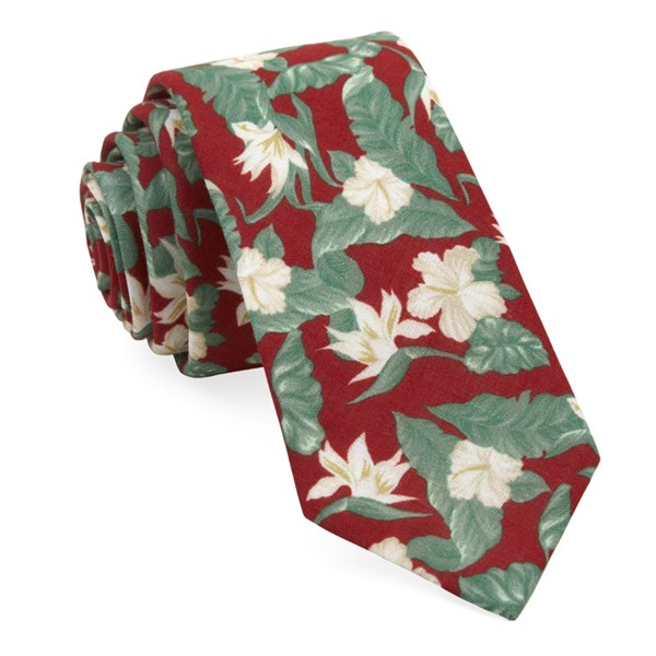 Red Tropical Floral Tie