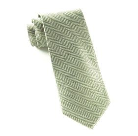Sage Green Herringbone ties