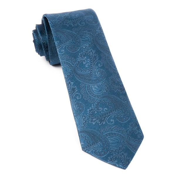Whale Blue Twill Paisley Tie