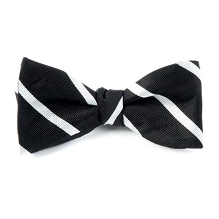 trad stripe black bow ties