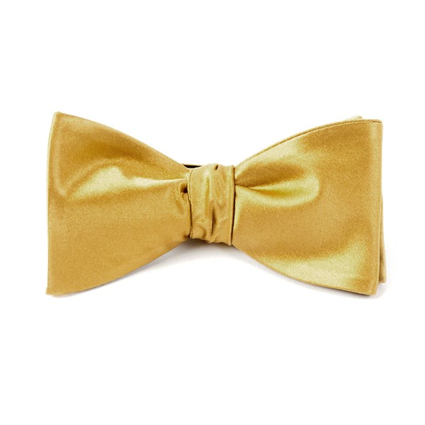 Mustard Solid Satin Bow Tie