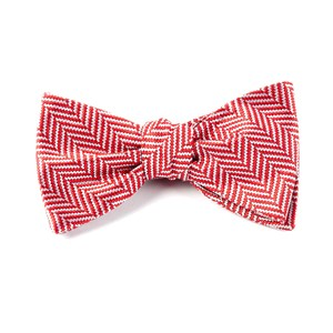 native herringbone red bow ties
