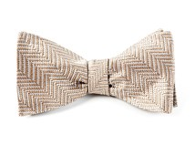 Bow Ties - NATIVE HERRINGBONE - LIGHT CHAMPAGNE