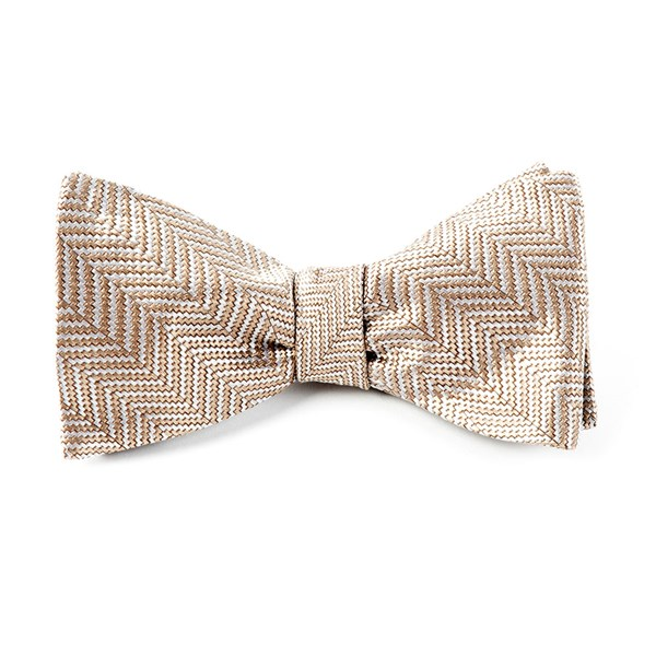 Light Champagne Native Herringbone Bow Tie