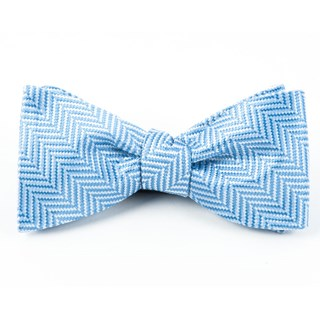 Native Herringbone Light Blue Bow Tie