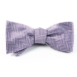 native herringbone lavender bow ties
