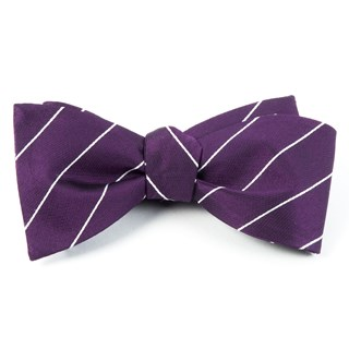 pencil pinstripe deep plum bow ties