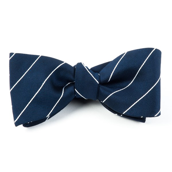 Classic Navy Pencil Pinstripe Bow Tie