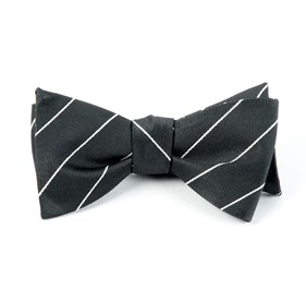 Pencil Pinstripe Bullet Grey Bow Ties