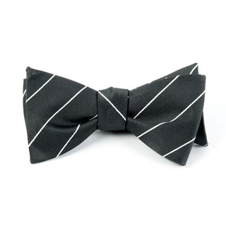 Pencil Pinstripe Bullet Grey Bow Tie