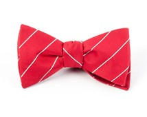 Bow Ties - PENCIL PINSTRIPE - APPLE RED